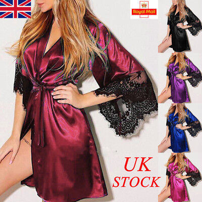 UK Womens Satin Nightwear Night Dress Ladies Lace Sleeve Pajamas Sleepwear Tops