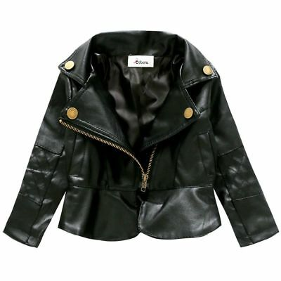 Baby Kid Girl Zipper PU Leather Black Coat Toddler Winter Warm Jacket Outwear