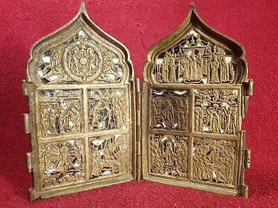 1800-s ANTIQUE ORIGINAL 0.45 kg FOLDING RUSSIAN ENAMEL BRONZE TRAVEL ICON