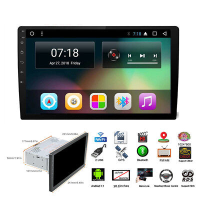 """Android 7.1 HD 1Din 10.1"""" Car GPS Stereo Radio Player Wifi 3G/4G 4-Core DAB RDS"""