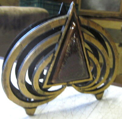 made in Isreal solid brass with agate art nouveaux style serviette holder