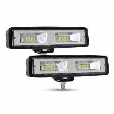 Pair 6INCH 60W CREE LED WORK LIGHT BAR Flood OFFROAD 4WD SUV ATV CAR LAMP 12V