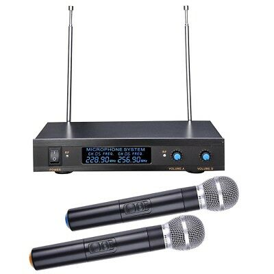 Professional Dual Channel VHF Wireless Two Handheld Microphones System