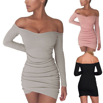 Fashion Women Off Shoulder Slim Bandage Bodycon Club Evening Party Mini Dress US