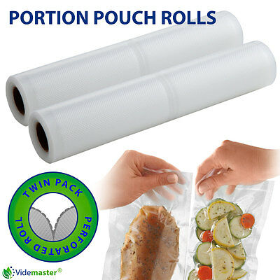 6 Rolls of 28cm Portion Pouch Perforated Vacuum Sealer Roll Work With Foodsaver