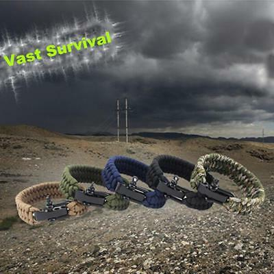 Survival Rope Paracord Bracelet Outdoor Camping Hiking Steel Shackle Buckle New