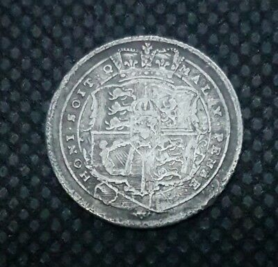 1817 Sixpence, British Silver Coin, George Iii Laureate Head