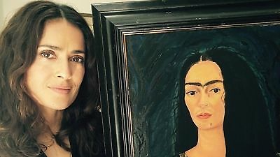 GLOSSY PHOTO PICTURE 8x10 Salma Hayek Posing Next To The Painting
