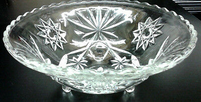 Vintage Star of David Clear EAPC Anchor Hocking Glass Scalloped 3 Footed Bowl