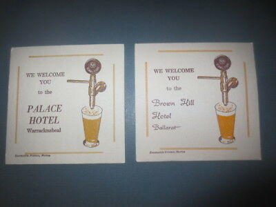 """2 different CARLTON & United Brewery 1970,s Issue beer COASTERS """" HOTELS  """""""