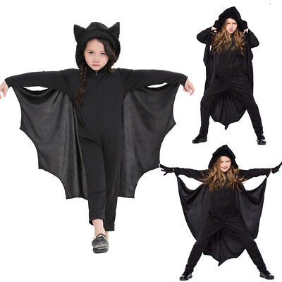 Childs Bat Costume Boys Girls Halloween Fancy Dress Outfit Kids Vampire Jumpsuit