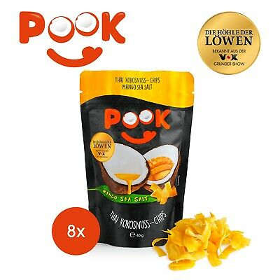 POOK Kokosnuss-Chips Mango Sea Salt 8er-Set - 40g