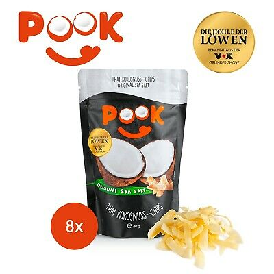 POOK Kokosnuss-Chips Original Sea Salt 8er-Set - 40g