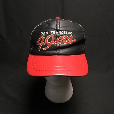 efc8d2c3c23 Vtg Genuine Leather NFL San Francisco 49Ers Snapback Hat Embroidered Black  Red