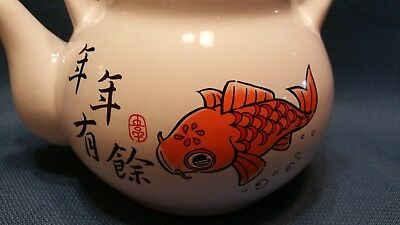 Japanese inspired Goldfish teapot preowned good condition