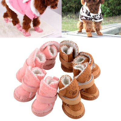51C0 Hot New Lovely Warm Pet Dog Puppy Winter Anti-slip Cozy shoes Boots 2 Color