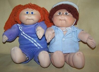 Lot of 2 Cabbage Patch Dolls Boy & Girl Good Played with Condition