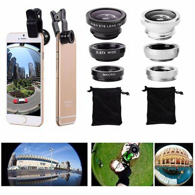For iPhone 5 6 SE 6 6Plus 7 8 Fish Eye + Wide Angle+ Macro Small Camera Lens Kit