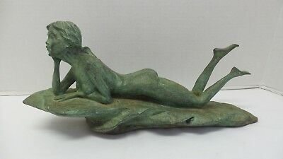 Vintage Green Bronze Metal Sculpture Young Nude Woman on Rock Signed