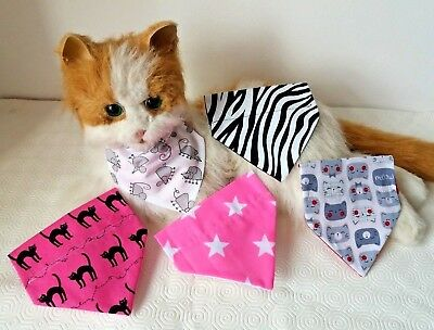 Limited Number Cat or Tiny Dog Collar Bandanna choice of 5 Designs size XS