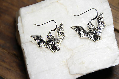 Bat Earrings Halloween Costume 925 sterling silver Pewter charms Bats