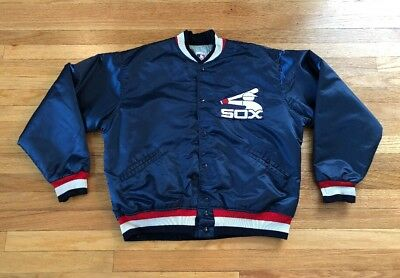 7f33c95629b6 Vintage Chicago White Sox Blue Men s Made in USA 80s FELCO SATIN Jacket XL