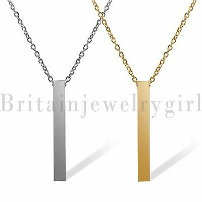 Free Engraving Name Words Stainless Steel Bar Pendant Necklace for Men Women