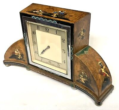 Chinoiserie Bracket Mantel Clock Hand Painted Walnut Art Deco Style Chrome
