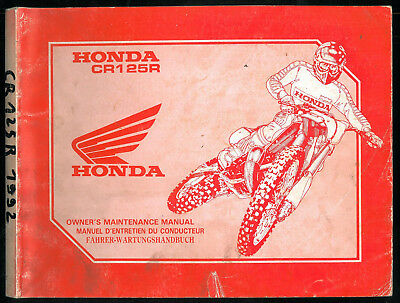 Revue d'Atelier HONDA CR 125 R 1993 Manuel technique Maintenance Manual CROSS