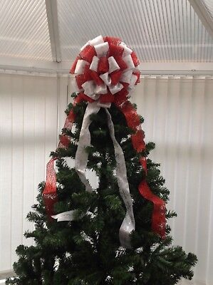 Large Red And Silver Christmas Tree Topper Bow