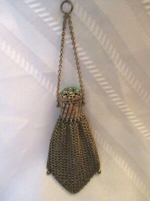 Antique Sterling Silver w/ Green Enameled Stone Expandable Purse 51 Grams