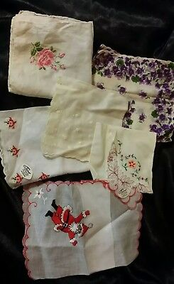 Vintage LOT OF 6 Floral Santa Cotton Embroidered Assorted Hankies Swiss Made