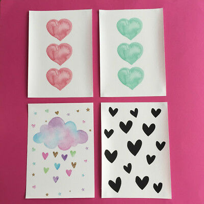 Hearts design, A5 canvas art prints, unframed, kids bedroom nursery decor gift