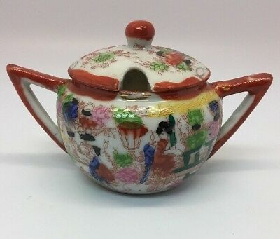 Vintage Japanese Hand Painted Geisha Girl Covered Sugar Bowl Intricate Design
