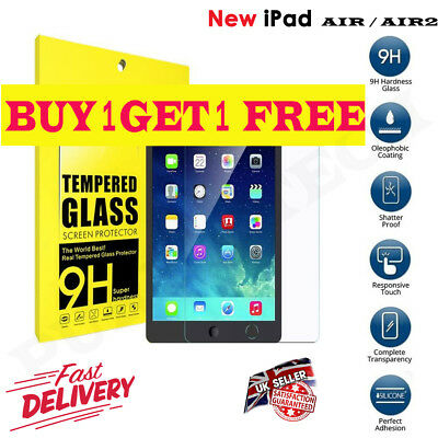PREMIUM Tempered Glass Screen Protector For Apple iPad Air 1/5 iPad Air 2/6