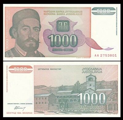 YUGOSLAVIA 1000 1,000 Dinara, 1994, P-140, World Currency