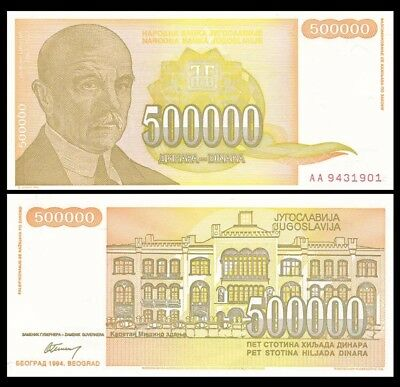 YUGOSLAVIA 500000 500,000 Dinara, 1994, P-143, World Currency