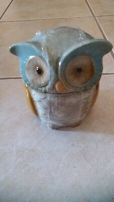 OWL Ceramic Cookie Jar  brand new - Blue/Browns dish washer safe