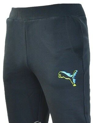 PUMA men's sweat pants with graphic logo in black, size uk30 New with tags