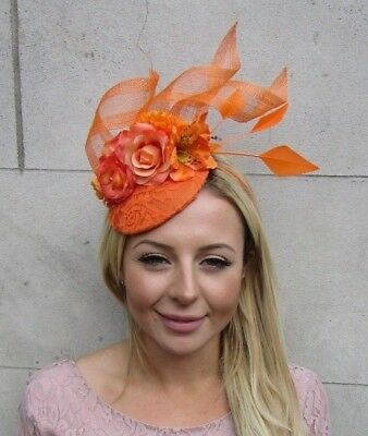 Orange Rose Flower Feather Pillbox Hat Fascinator Races Wedding Floral Hair 6343
