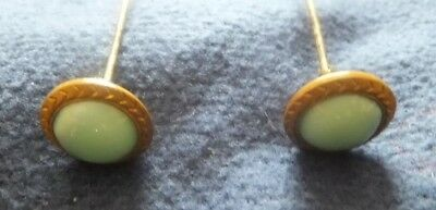 PAIR of GENUINE ANTIQUE HATPINS - GREEN GLASS.