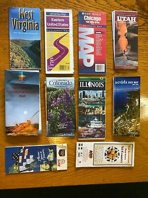 Ten Old Road Maps in USA (wv)