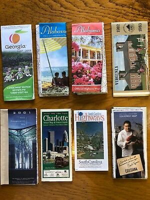 Eight Old Southern States Road Maps in USA.    (ga)