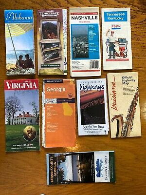 Nine Old Southern States Road Maps in USA.    (al)