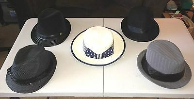 5pc. Lot Women's Mix Brand Fedora & Straw Hats/Candie's,Divided HM,etc. Size 1