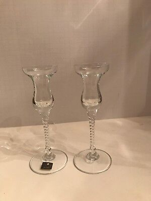 Studio Nova Venice Crystal Glass Candlesticks Twisted Stem (2)