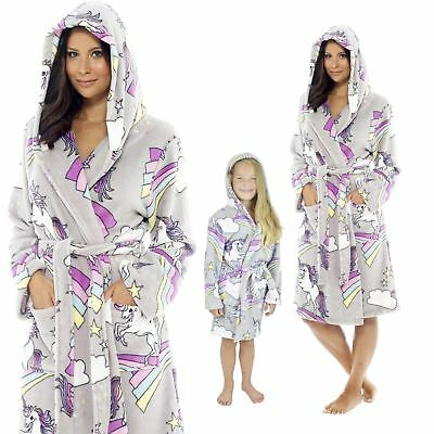 Ladies Girls Mumdaughter Matching Unicorn Grey Hooded Dressing Gown