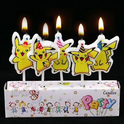 5 x Pikachu Candles Happy Birthday Cake Toppers Party