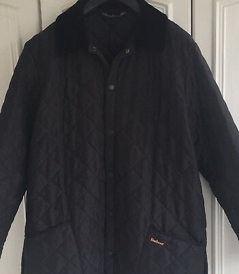 Barbour Eskdale Men's Quilted Jacket Coat Black Size L / XL Chest 42 / 44 Inches