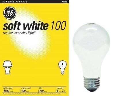 8 Pack - 100 Watt GE Soft White Incandescent Light Bulbs *41036*
